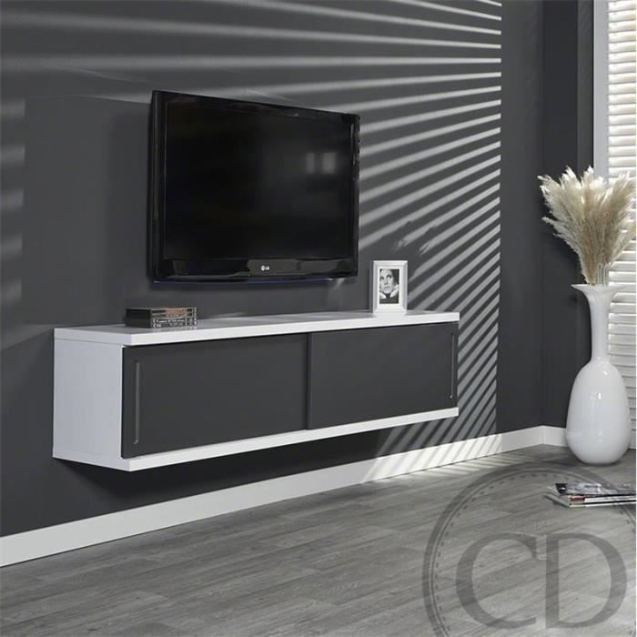 meuble tv suspendu laqu gris et blanc design achat vente meuble tv meuble tv suspendu laqu. Black Bedroom Furniture Sets. Home Design Ideas
