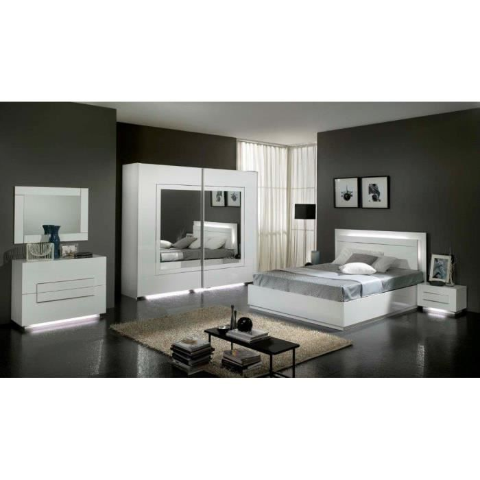 chambre coucher mod le city laquee blanche avec armoire 2 portes 240 cm et lit simple achat. Black Bedroom Furniture Sets. Home Design Ideas