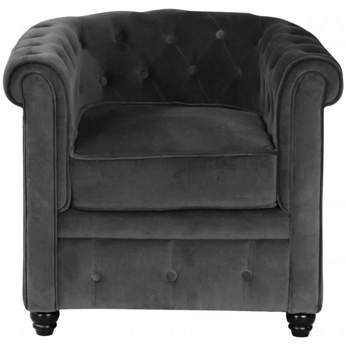 fauteuil chesterfield en velours capitonne gris anthracite. Black Bedroom Furniture Sets. Home Design Ideas
