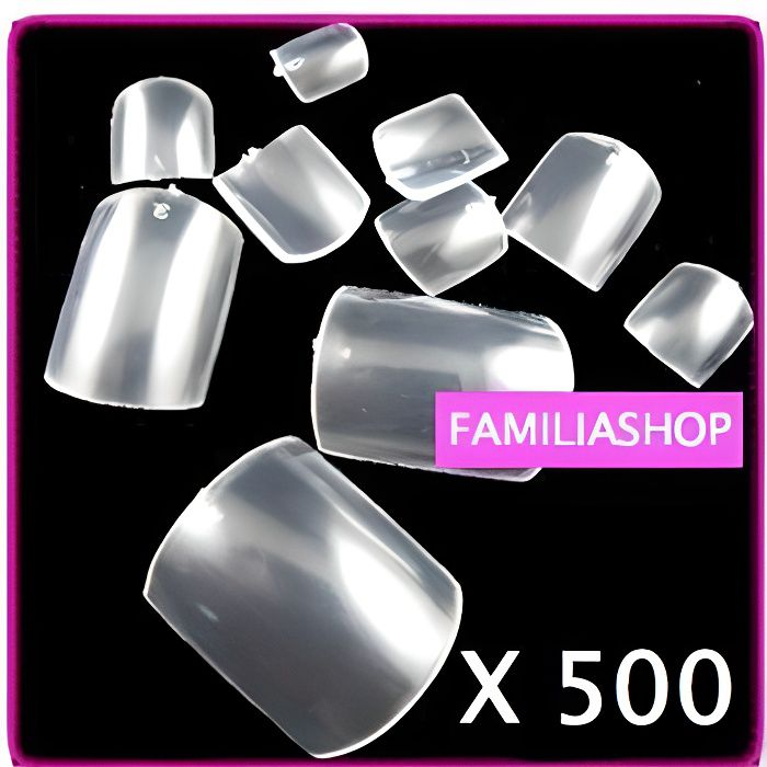 500 FAUX ONGLES TRANSPARENT SPECIAL PIED CAPSULES