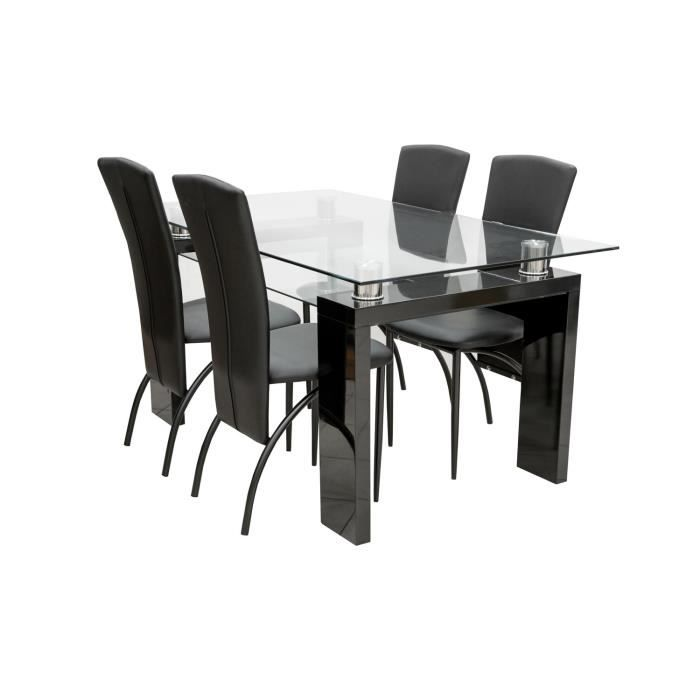 Table manger 4 chaises fiesta noir achat vente table a manger complet table manger 4 for Quelle chaise pour table en verre