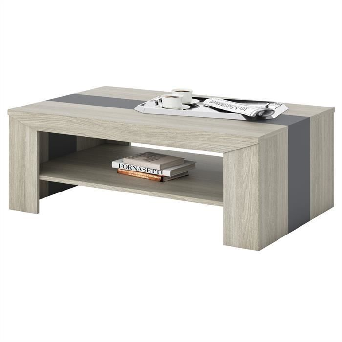 Table basse lyon mdf m lamin ch ne latte et gris achat vente table basse - Table salon cdiscount ...