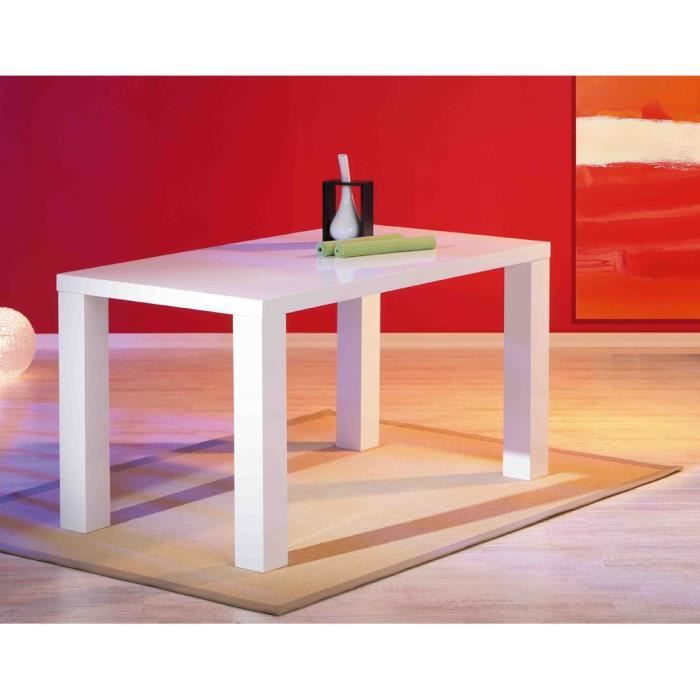 Table de cuisine rectangulaire blanc laqu achat vente for Table de cuisine rectangulaire extensible