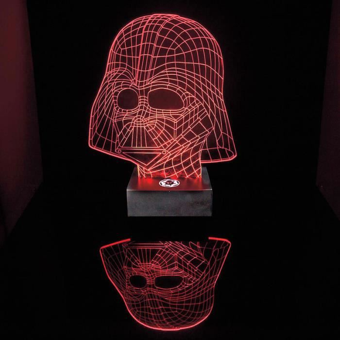lampe star wars dark vador avec effet 3d illumination rouge gravure par laser en acrylique. Black Bedroom Furniture Sets. Home Design Ideas