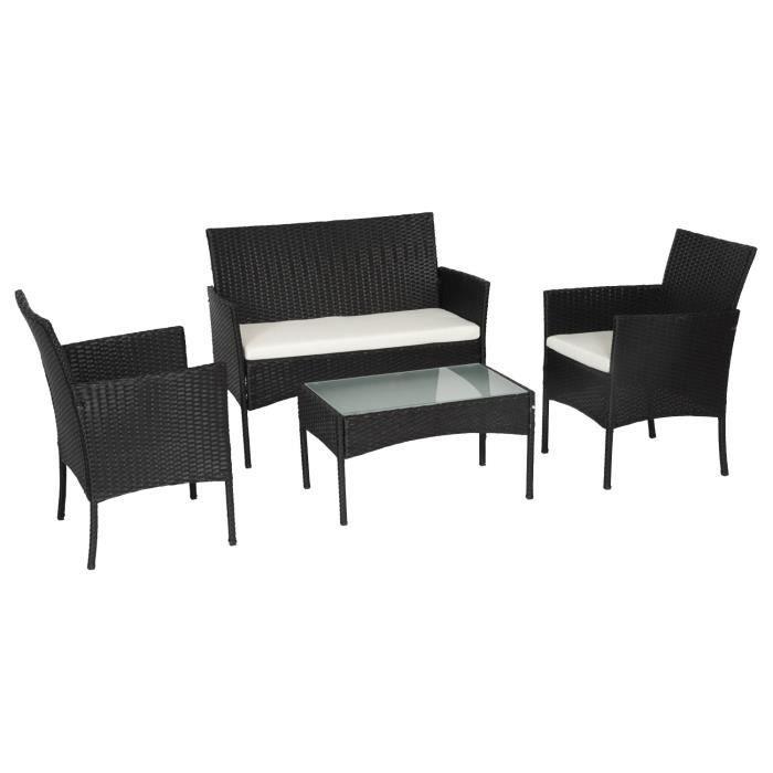 SALON DE JARDIN  Salon de jardin CORDOUE en résine tressée noire 4