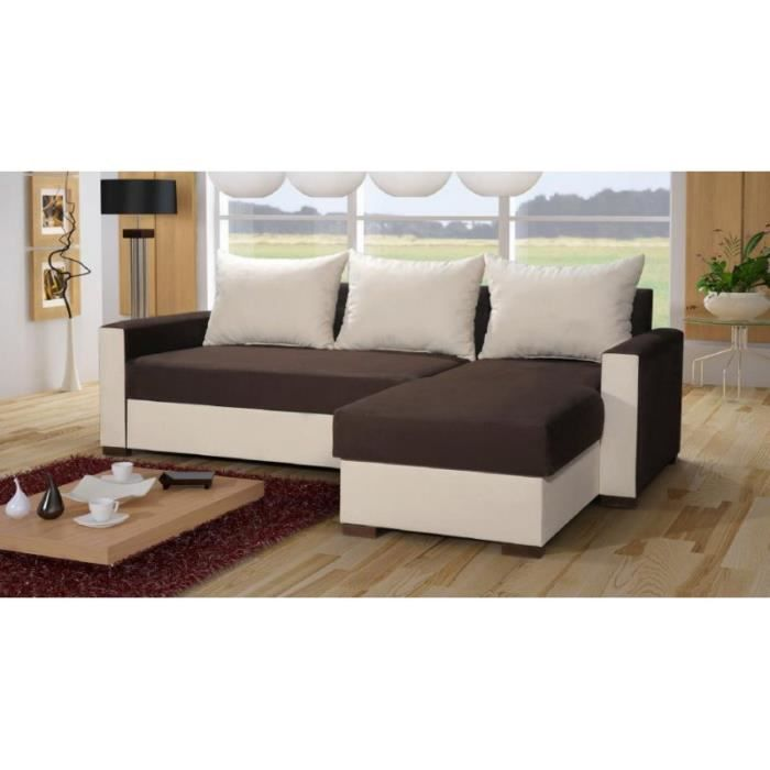 justhome rio canap d 39 angle beige brun a66 a50 87 x 155 x 230 cm achat vente canap sofa. Black Bedroom Furniture Sets. Home Design Ideas