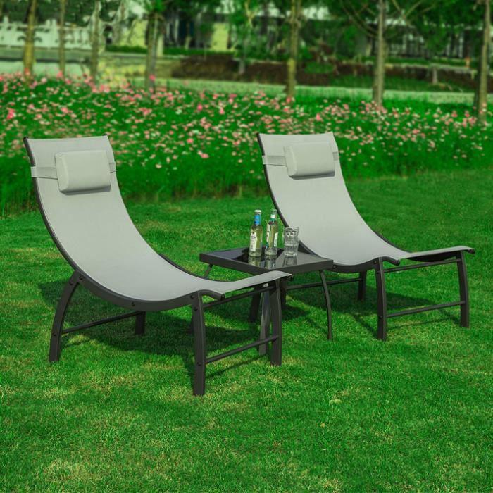 SoBuy® OGS37-HG Salon de Jardin Design Ensemble de Jardin 2 Fauteuils et  Table Basse Extérieure Métal Verre Polyester
