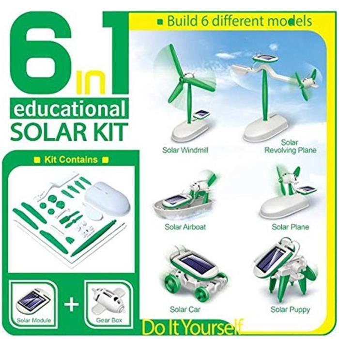 EXPÉRIENCE SCIENTIFIQUE Kit solaire robotique 6 en 1 Enfant Bricolage éducatif