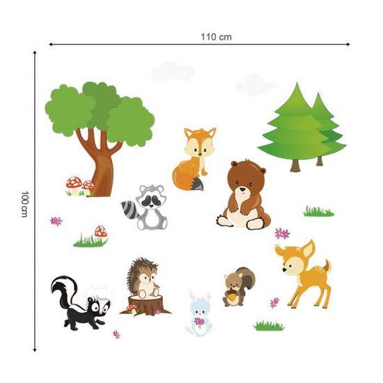 decalmile Stickers Muraux Animaux For/êt Autocollant D/écoratifs Ourson Arbre D/écoration Murale Chambre Enfants B/éb/é Salon