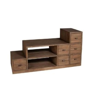 louna meuble tv ethnique en bois exotique escalier l105cm achat vente meuble tv meuble tv en. Black Bedroom Furniture Sets. Home Design Ideas