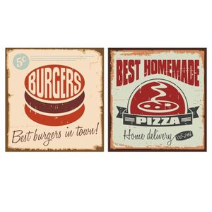 STICKERS Stickers adhésif mural Vintage Burgers and Pizza S
