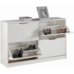 MEUBLE À CHAUSSURES Meuble à chaussures BASIL armoire avec 2 x 2 abatt