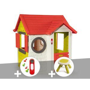 MAISONNETTE EXTÉRIEURE Cabane enfant My House - Smoby + Sonnette + Tabour