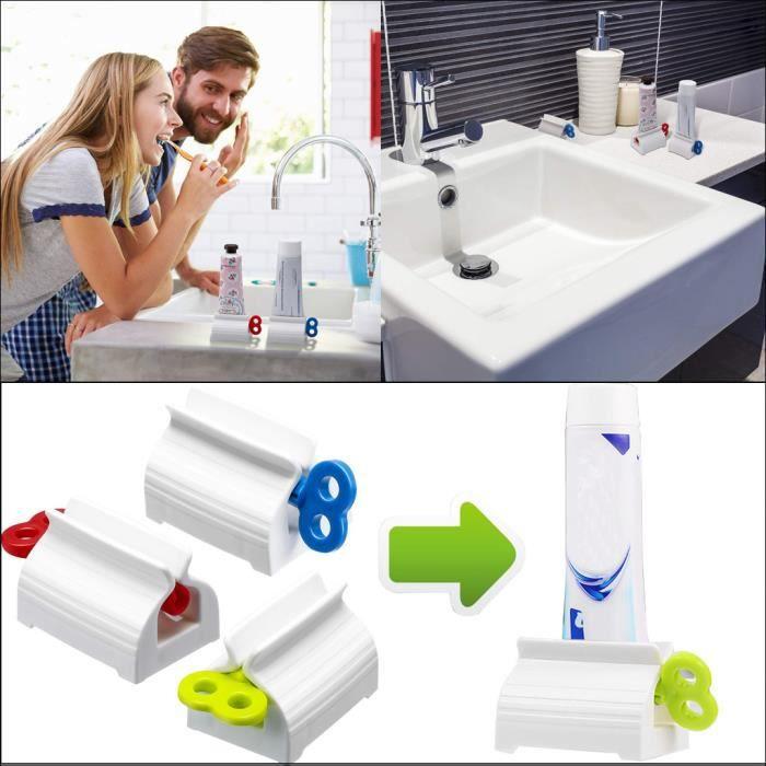 Presse-tube de dentifrice en plastique Distributeur facile Support roulant Fournitures de salle de bain br3107