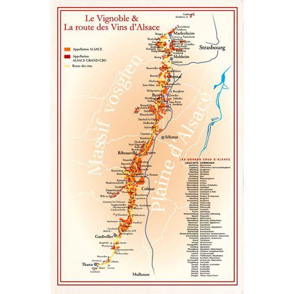 TORCHON CARTE DES VINS VIGNOBLES D'ALSACE
