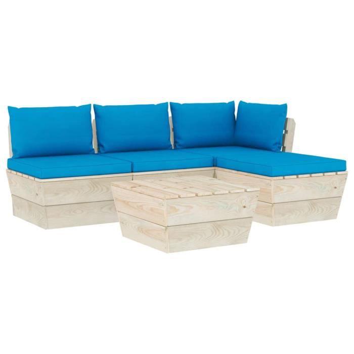 #96129 Salon de jardin palette 5 pcs Professionnel - Ensemble Table et Chaise de Jardin avec coussins Épicéa imprégné Parfait