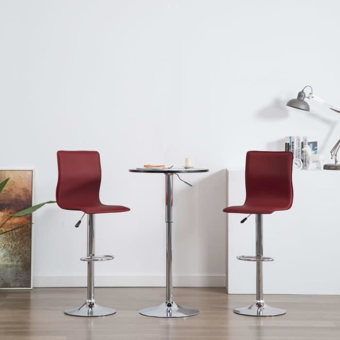 SYMPA}9102Magnifique Chic-Lot de 2 Tabouret de Bar Design Industriel - Tabouret Cuisine Tabouret Haut Chaise de Bar Rouge Similicuir