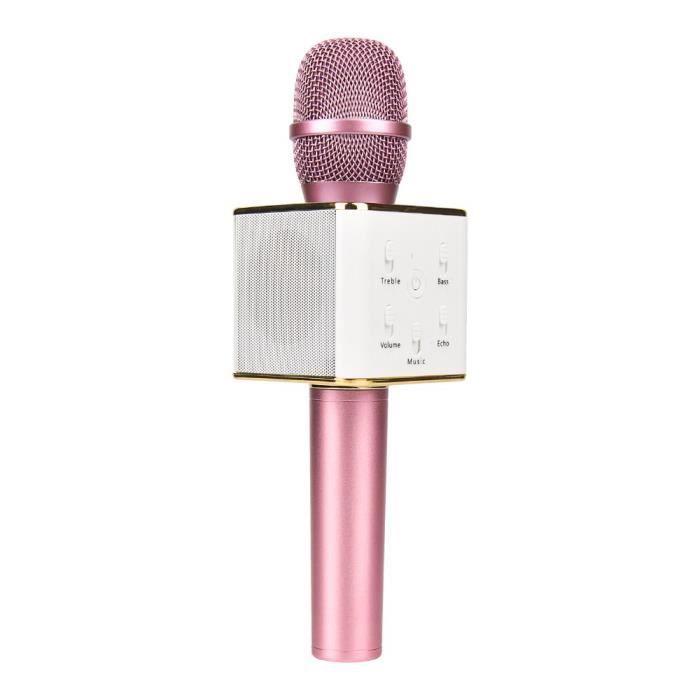 Microphone Karaoké Bluetooth sans fil avec haut parleur stéréo rose