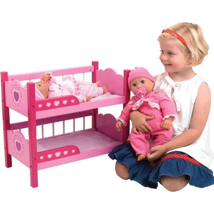 Dolls World Jouet de lits superposés de poupée en bois
