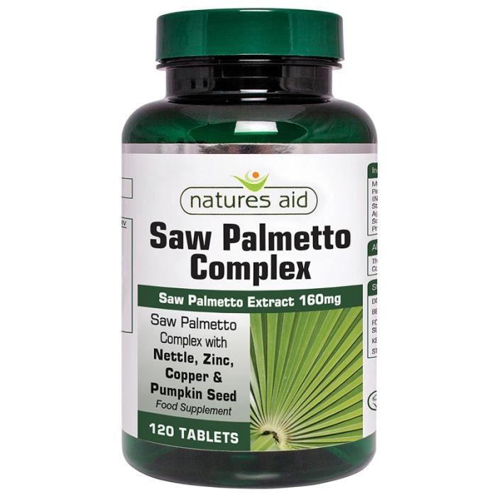 Complexe de palmier nain de Nature's Aid avec comprimés d'ortie, de zinc et d'acides aminés 120