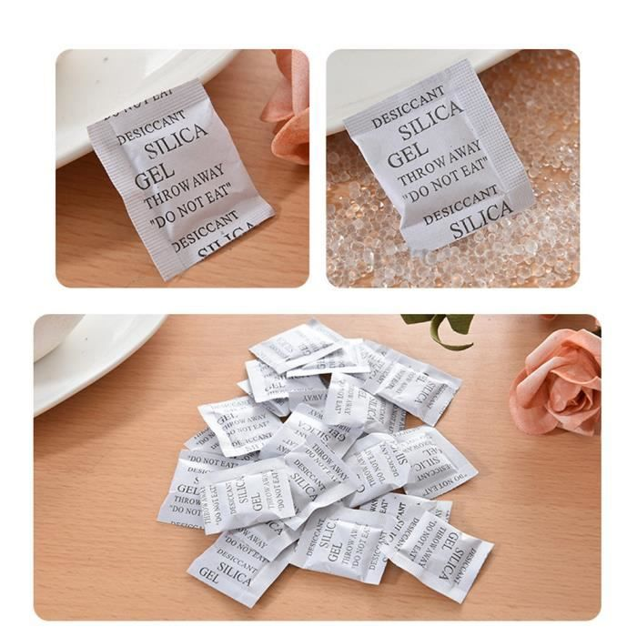 100 paquets 1g déshumidificateur déshumidificateur déshydratant gel de silice non toxique XFM60912630_6965