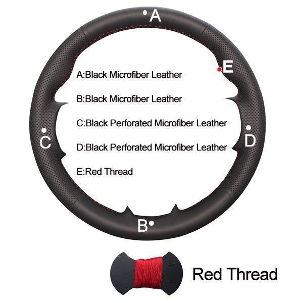 Revêtement de Volant de voiture pour citroën C4 Picasso 2007 – 2013, couvre volant de voiture, 2008, 2 Red Thread