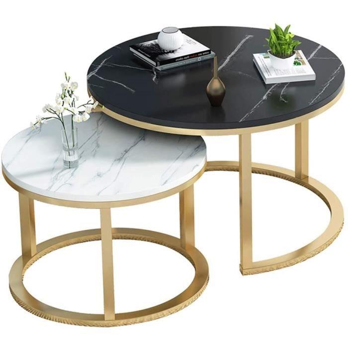 Table Basse Ronde Tables gigognes Lot de 2, Table d'appoint au Design Moderne pour Salon, Noir et Blanc, Grande: 70cm, Petite: [120]