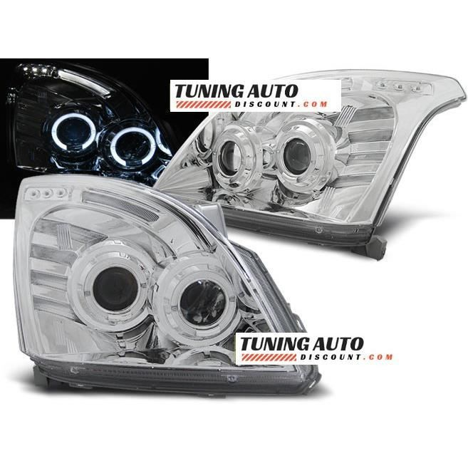 Phares avant Toyota land cruiser 120 03-09 angel eyes chrome