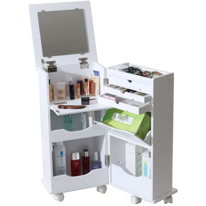 Coiffeuse Chambre Petit Appartement Mini Rabattable Commode Coiffeuse Mobile Armoire de Maquillage (Color : Blanc, Size : 32 * 3476