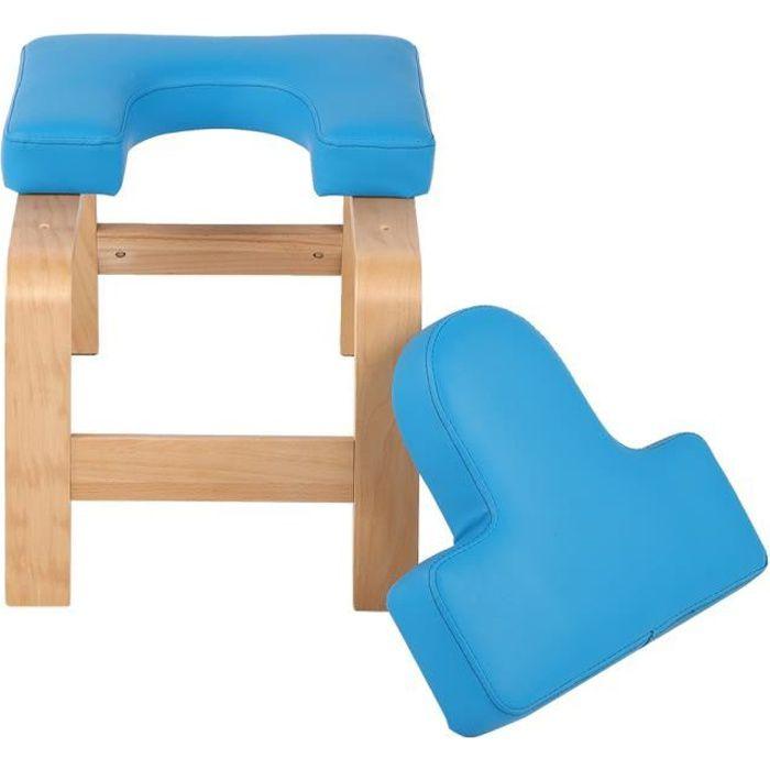 Chaise d'inversion de yoga bleu en bois tabouret à l'envers banc d'exercice de sport (bleu)-YID
