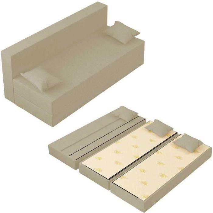 Canapé Lit Tetris Convertible Modulable Réversible 3 places - Tissu dehoussable et lavable Couleur Ivoire