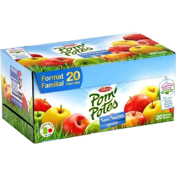MATERNE Pom'Potes à la Pomme - Sans sucres ajoutés - 20 x 90 g