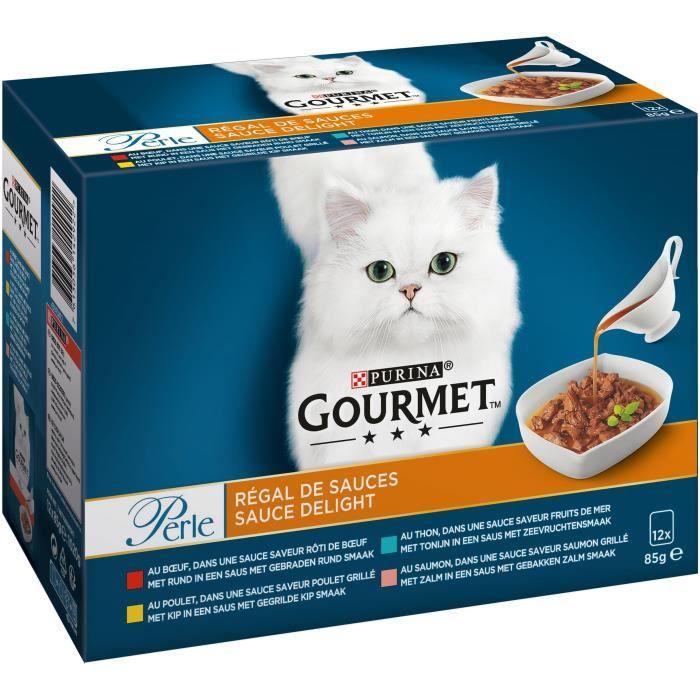 GOURMET Perle Régal de Sauces - Sachets fraîcheur - Pour chat adulte - 12 x 85 g