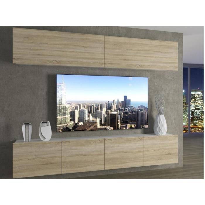 MORRIE - Ensemble meubles TV - Unité murale style moderne - Largeur 200 cm - Mur TV à suspendre - Aspect bois - Sonoma