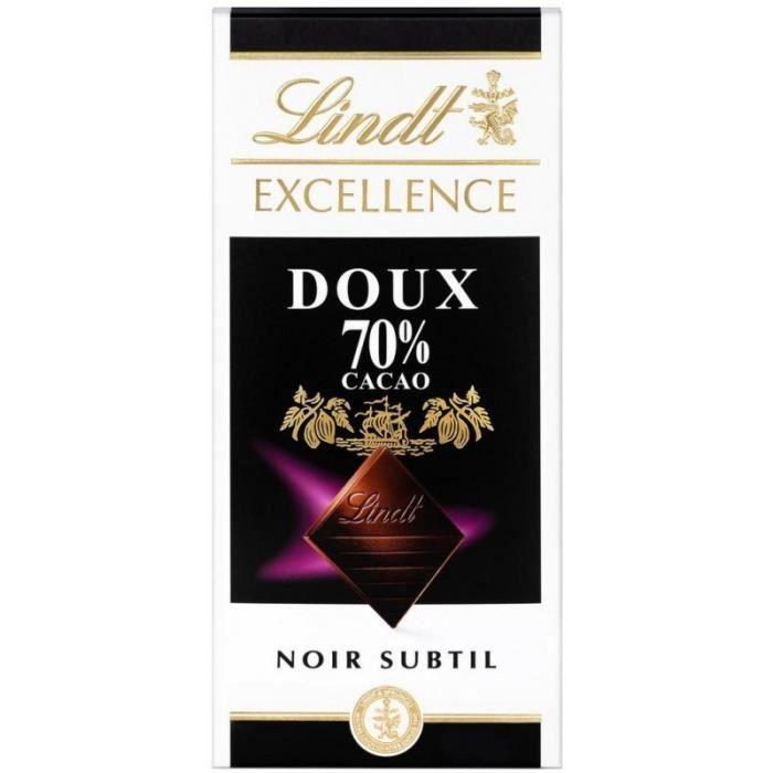 Lindt Excellence Noir Subtil Doux 70% Cacao 100g (lot de 10)