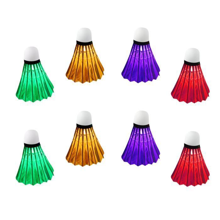 LED Volant De Badminton Lumineuse Birdie Volnat Accessoire Formation Badminton - Lot De 8pcs