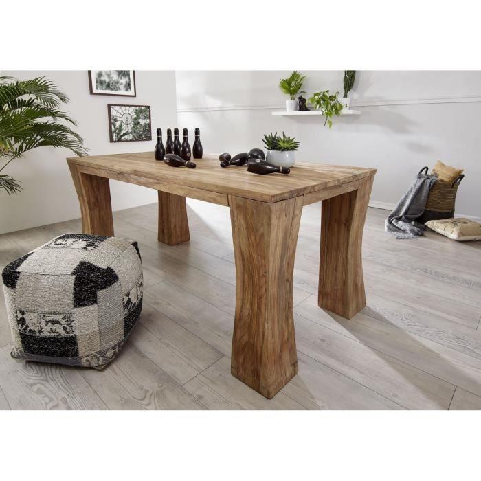 Table à manger 200x100cm - Bois recyclé de teck brut - Design rustique - BASSANO #107