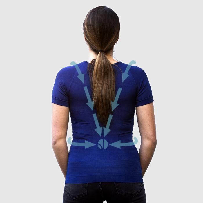 T-shirt Bleu Femme Correcteur de Posture - Anti Mal de Dos - Compression - Maillot de Corps Manches Courtes