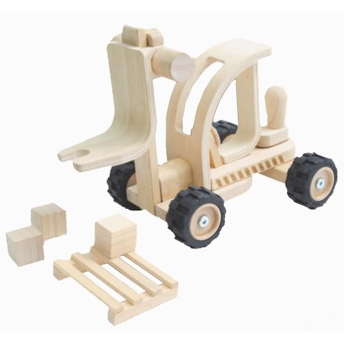 PLAN TOYS Chariot élévateur en bois naturel