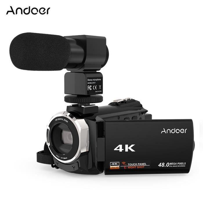 Andoer 4K 1080P 48MP WiFi Caméra Vidéo Numérique Caméscope avec Mic Externe Novatek 96660 Chip IR Huit Sight 16X Zoom Numérique
