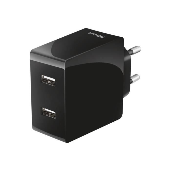 TRUST 2x12W Fast Dual Wall Charger - Chargeur secteur 2 ports