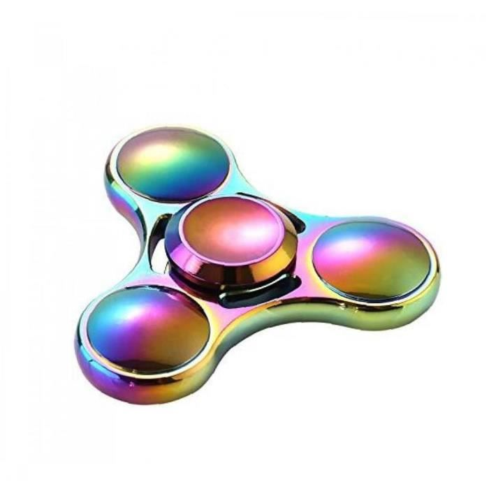 Main Spinner Jouet Rainbow Métal Toy Tri-Spinner Tri-Spinner Fidget pour Stress Anxiety Soulagement EDC Bureau Jouet