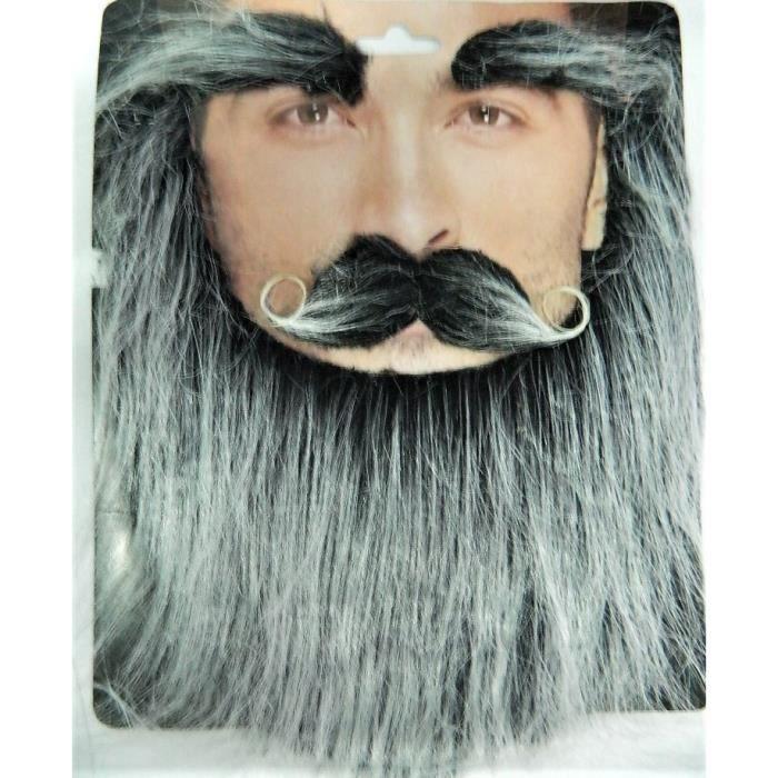 Barbe longue grise avec Moustaches
