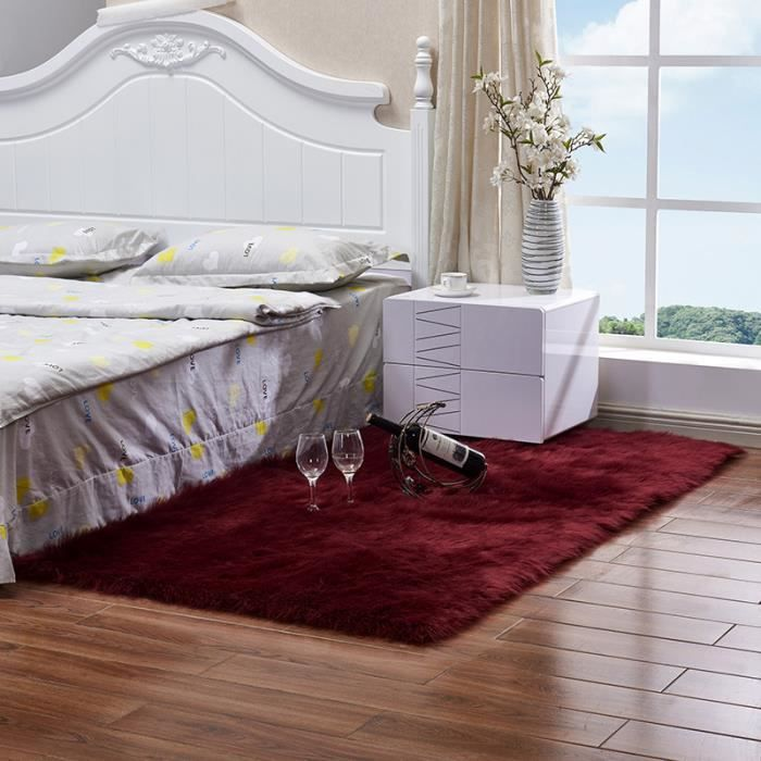 Tapis Salon Carpet Chambre Shaggy Yoga Moquette Anti Dérapage Absorbant Vin  Rouge