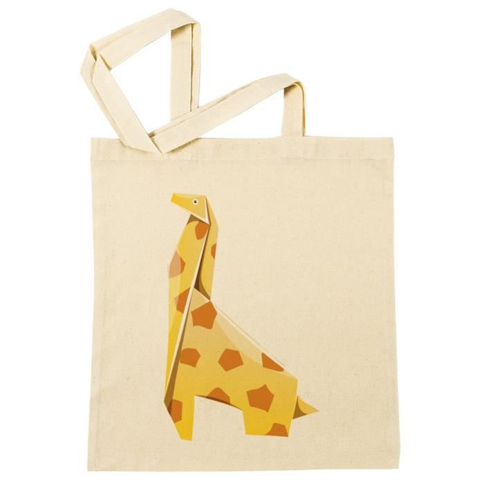 Sac à Provisions Girafe Origami Plage Coton Réutilisable Shopping Bag Beach Reusable B 37457 B 37457