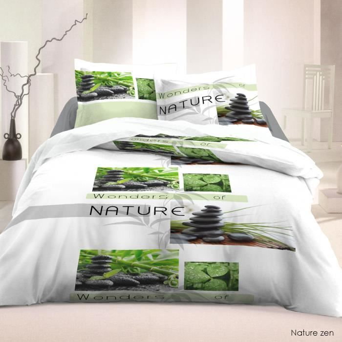 housse de couette coton 3 pcs 220x240cm nature zen achat vente housse de couette cdiscount. Black Bedroom Furniture Sets. Home Design Ideas