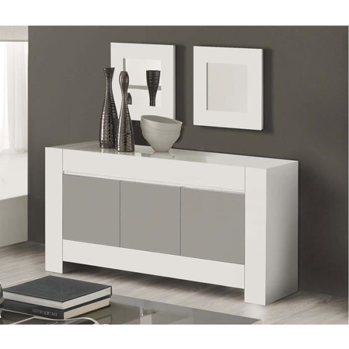 buffet bahut blanc et gris laqu design cambia 2 blanc. Black Bedroom Furniture Sets. Home Design Ideas