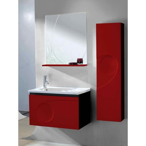 meuble de salle de bain simple vasque rouge et noi achat vente salle de bain complete meuble. Black Bedroom Furniture Sets. Home Design Ideas