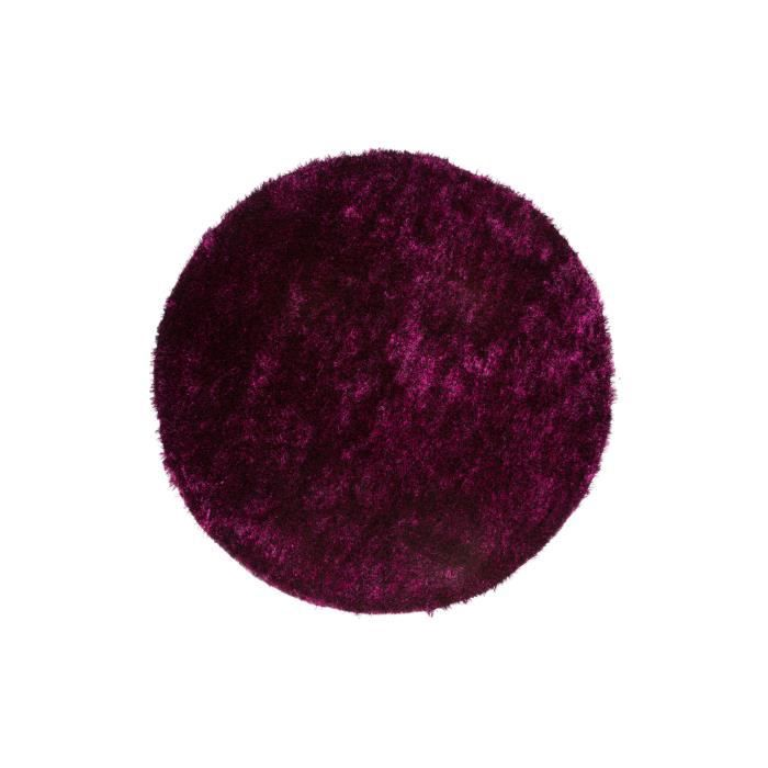 tapis shaggy uni violet noir 35 mm 120x120 cm rond. Black Bedroom Furniture Sets. Home Design Ideas