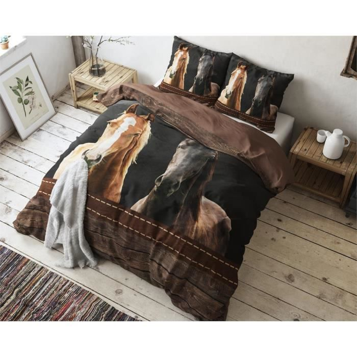sleeptime chevaux housse de couette 240x200 220 cm 2 taies 60x70 cm marron achat. Black Bedroom Furniture Sets. Home Design Ideas